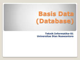 Basis Data - Universitas Dian Nuswantoro