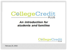 CollegeCreditPlus Presentation