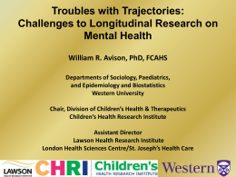 Troubles with Trajectories - Offord Centre for Child Studies
