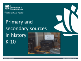 Primary and secondary sources in history PowerPoint