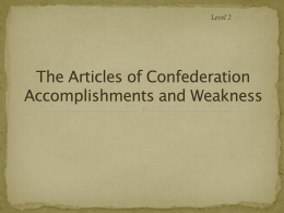 The Articles of Confederation and the Critical Period