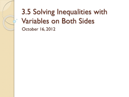3.5 Solving Inequalities with Variables on Both Sides