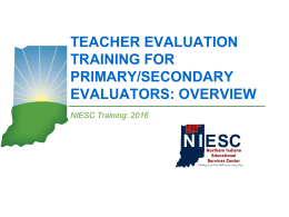 NIESC Teacher Evaluation Overview 2016