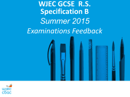 GCSE Religious Studies Specification B Feedback Summer