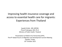 Experiences from Thailand - Global Forum on Migration and
