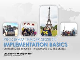 Program Leader Session - University of Michigan