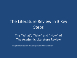 Literature Reviews in 3 Steps