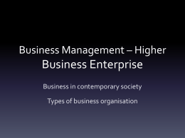 Business Management * Higher Business Enterprise