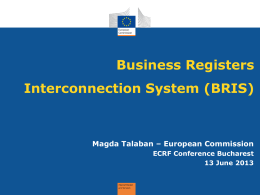 Business Registers Interconnection System (BRIS) - ECRF