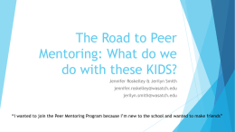 The Road to Peer Mentoring: What do we do