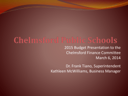 CPS – By REVENUE - Chelmsford Public Schools