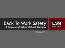 Back To Work-Back To Safety