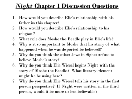 Night Chapter 1 Discussion Questions