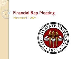 Financial Rep Meeting - Information Technology Services