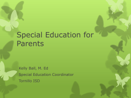 Special Education for Parents - Tornillo Independent School District
