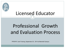 Licensed Educator Process for Professional Growth