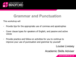 Grammar and Punctuation - University of Bradford