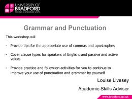 Grammar and Punctuation - University of Bradford