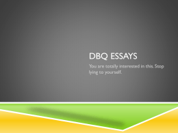 DBQ ESSAYS