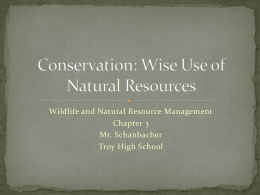 Conservation: Wise Use of Natural Resources