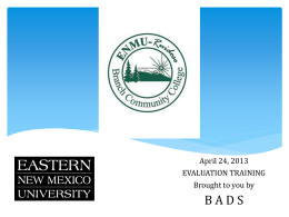 Evaluation Training - Eastern New Mexico University