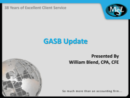 GASB Update - Florida Government Finance Officers Association