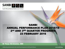 SANBI - Parliamentary Monitoring Group