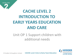 CACHE Level 2 Intro to Early Years Education
