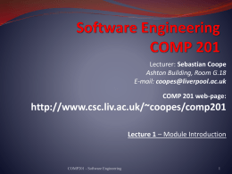 Software Processes - Computer Science Intranet