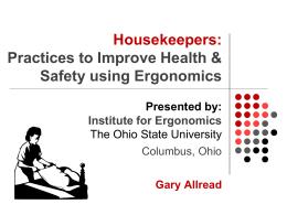 Housekeeper Training - SRI-Ergonomics / Institute for Ergonomics
