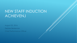 New Staff Induction Achieve NJ 2016