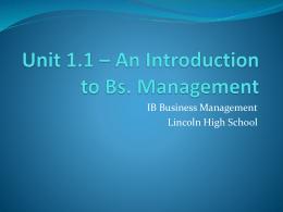 Unit 1.1 * Nature of Business Activity