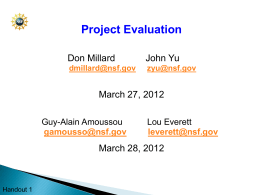 Project Evaluation Workshop
