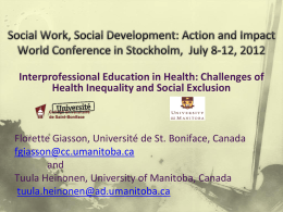 View the presentation - University of Manitoba