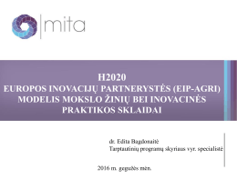 H2020. dr. E.Bagdonaitė, MITA.