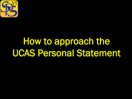 UCAS Workshop 2 – Approaching the Personal