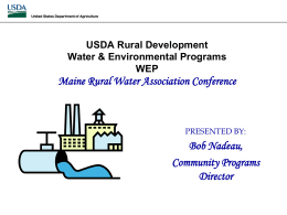 USDA Rural Development - Maine Rural Water Association