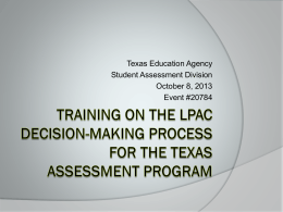Training on the LPAC Decision-Making Process for the Texas