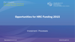 HRC`s roadshow presentation on funding