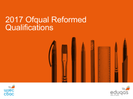Summary of Eduqas qualifications for teaching from 2017