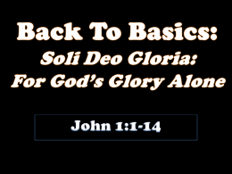 Soli Deo Gloria - grace presbyterian church