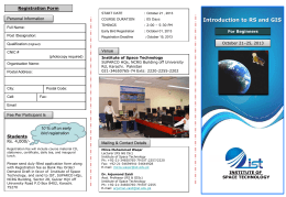 Introduction to RS and GIS - Institute of Space Technology, Islamabad.