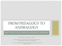 From Andragogy to coaching