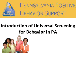 Introduction of Universal Screening for Behavior in PA