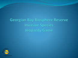 Water Ecology Jeopardy - Georgian Bay Biosphere Reserve