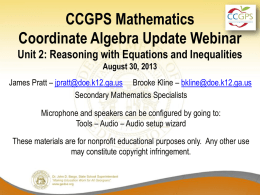 Aug30_MathCAUnit2Update - Georgia Mathematics Educator