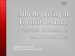 MIS Reporting@FHDA