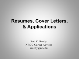 Resume`s and Cover Letter`s - New River Community College
