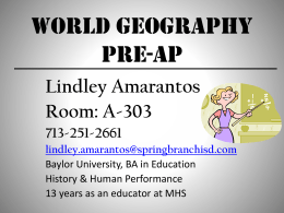 World Geography - Spring Branch ISD
