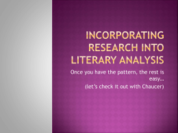 Incorporating Research Into Literary Analysis